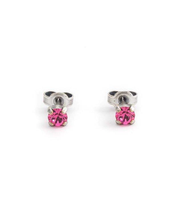 Krikor Verzilverde oorknopjes met 4 mm roze kristal