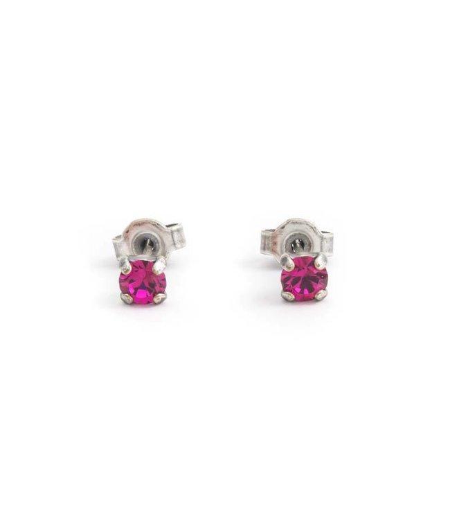 Krikor Verzilverde oorknopjes met 4 mm fuchsia roze kristal