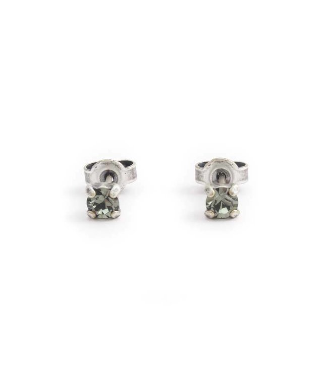 Krikor Verzilverde oorknopjes met 4 mm donker grijs kristal