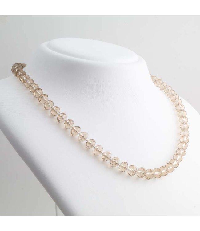 Aurora Patina Bruin collier met glas beads