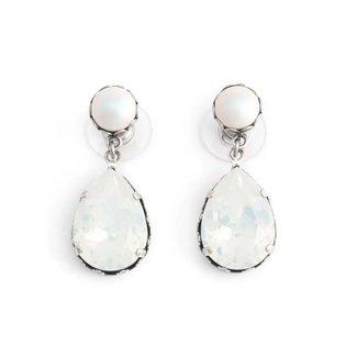Krikor Witte oorbellen kristal en iriserende parel