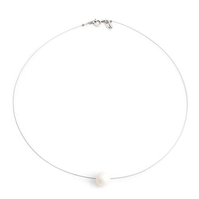 Iriserende parel ketting 10 mm pearlescent white