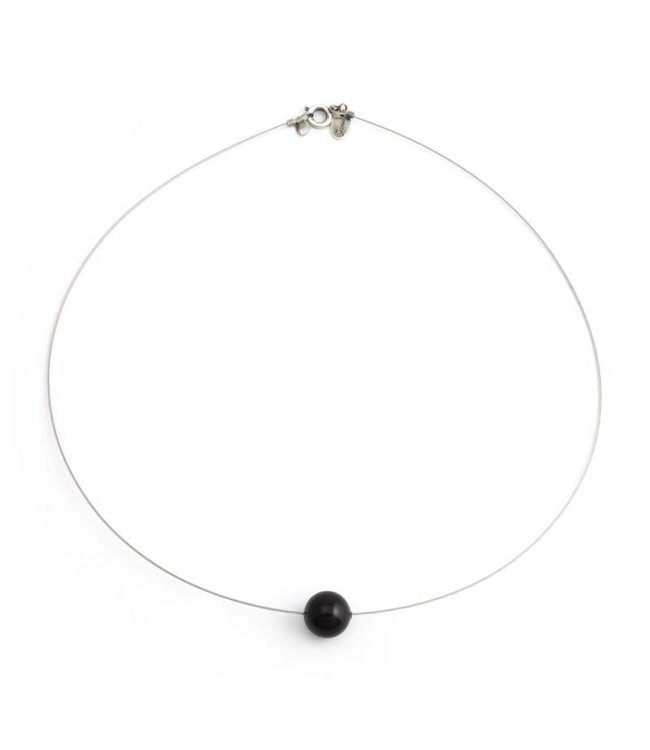 Krikor Zwarte ketting met 10 mm Swarovski kristal parel