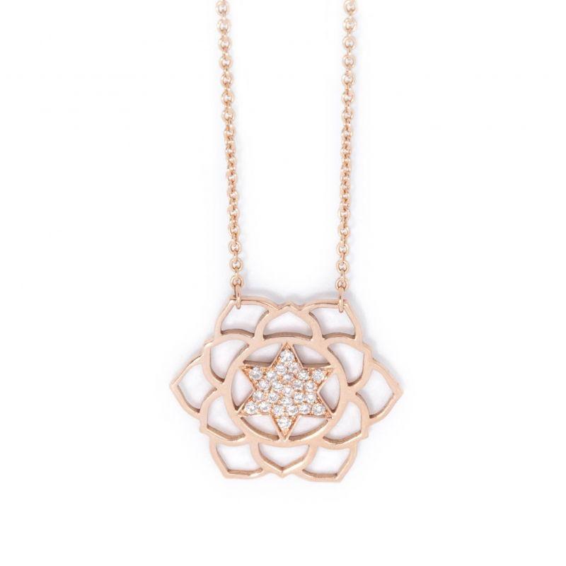 Tiny Om Anahata paved diamonds necklace
