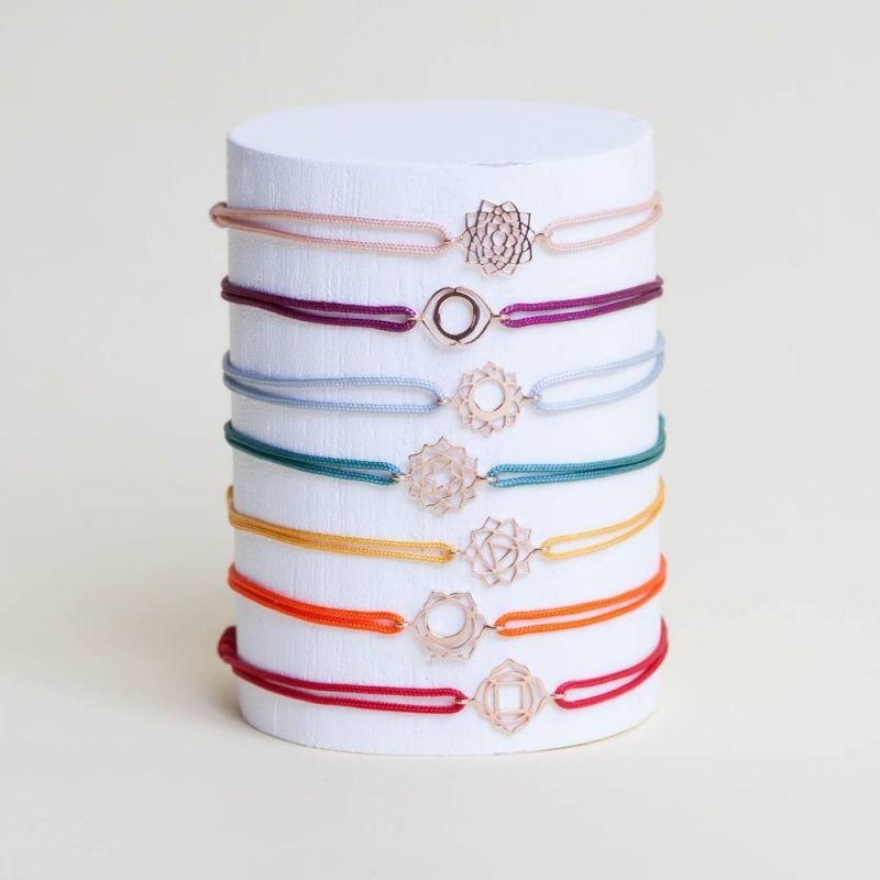 Tiny Om Chakra bracelet on thread Serenity/Ajna