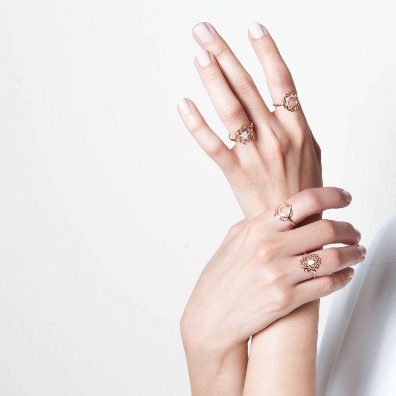 Tiny Om Vishuddha paved dimanonds ring