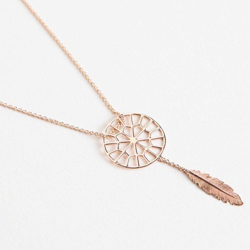 Tiny Om Tiny sweet web dreamcatcher necklace