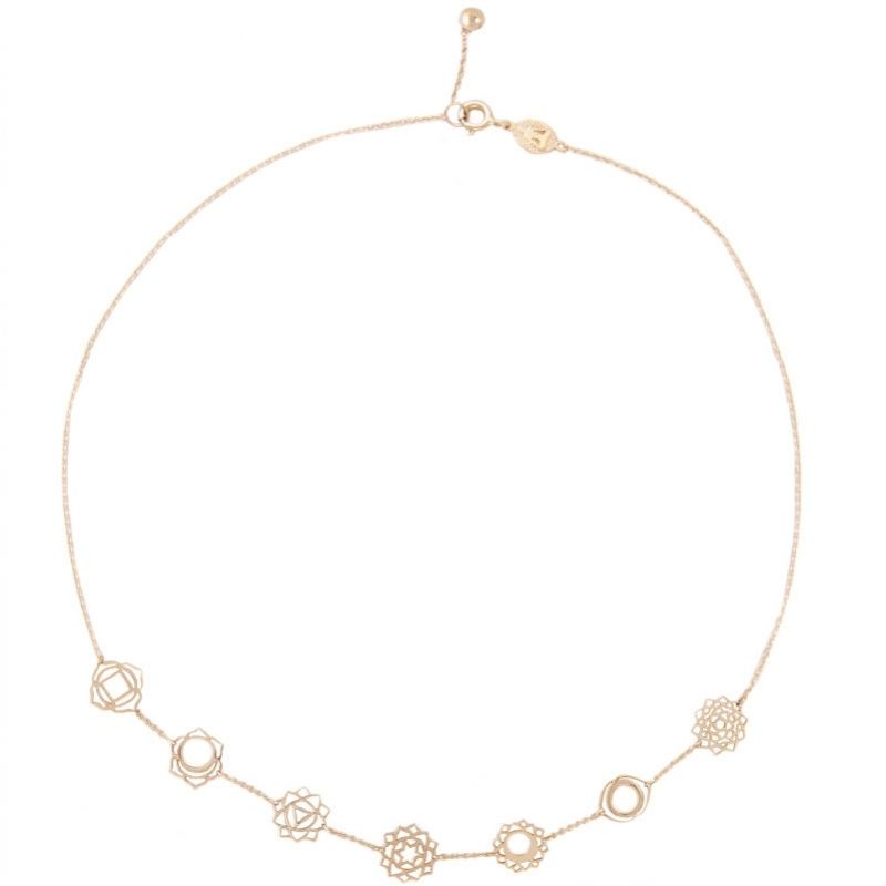 Tiny Om 7 chakras necklace