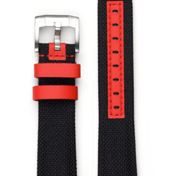 EVEREST CURVED END NYLON WITH TANG BUCKLE (BLACK WITH RED ACCENT)