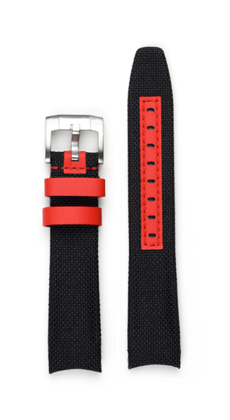 Everest EVEREST CURVED END NYLON WITH TANG BUCKLE (BLACK WITH RED ACCENT)