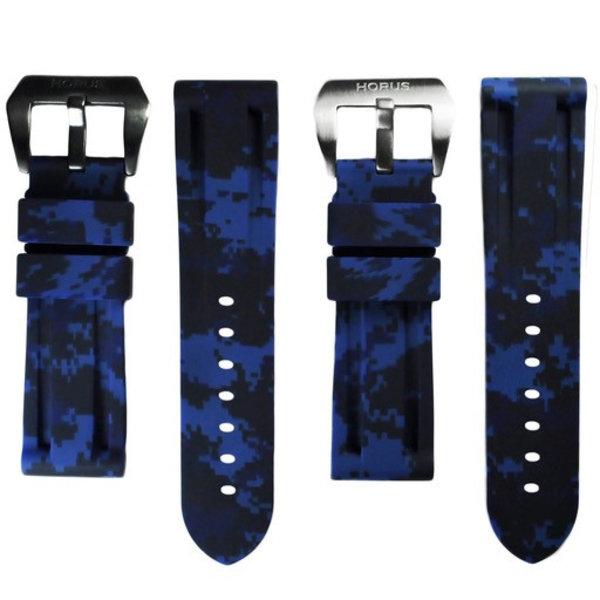 HORUS Navy Blue Digital Camouflage Rubber Strap for Panerai