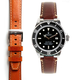 Everest EVEREST STEEL END LINK LEATHER STRAP (BROWN WITH CONTRAST STITCHING)
