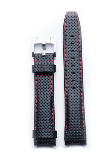 Everest EVEREST CURVED END RACING Black LEATHER for rolex sports models(with red stitching)