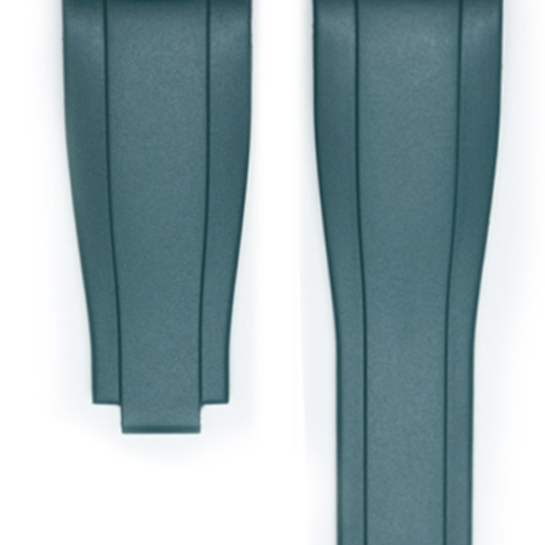 EVEREST CURVED END RUBBER STRAP FOR ROLEX DEPLOYANT -Green