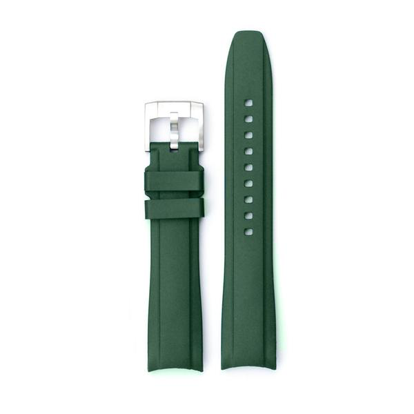EVEREST CURVED END RUBBER FOR ROLEX MILGAUSS,SD,AirKing WITH TANG BUCKLE-Green
