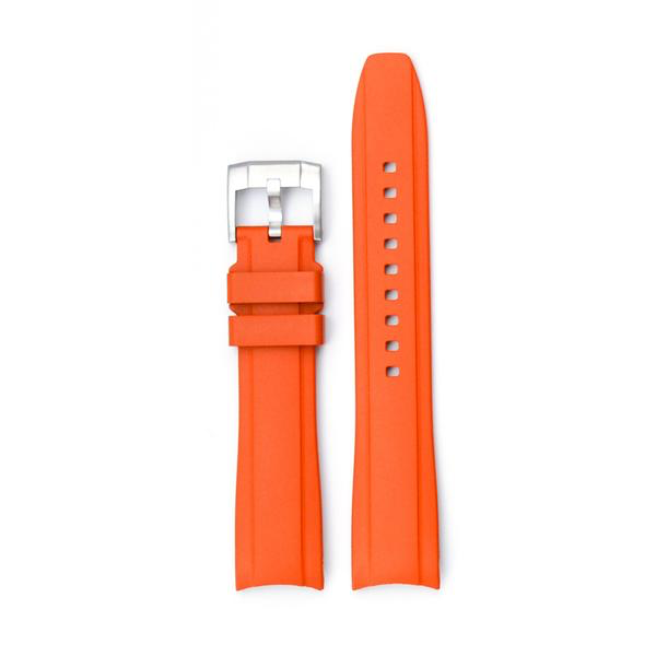 EVEREST CURVED END RUBBER FOR ROLEX MILGAUSS,SD,AirKing WITH TANG BUCKLE-Orange