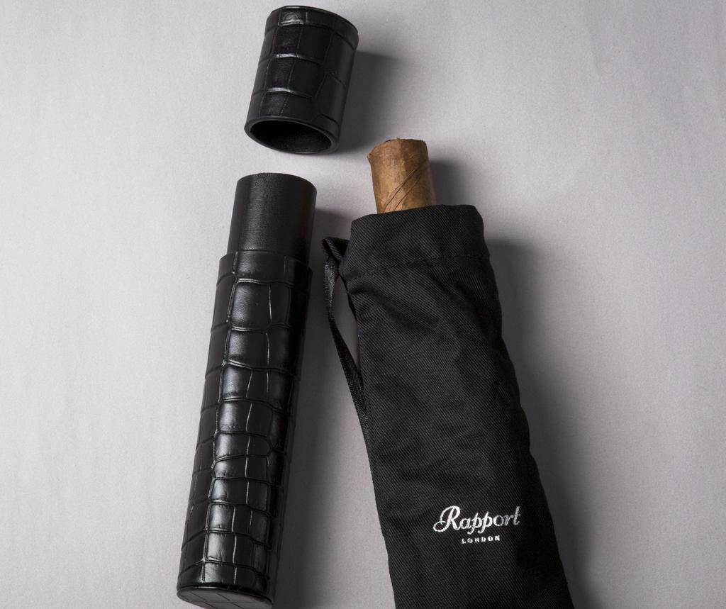 RAPPORT Cigar Holder for 1 Cigar Black leather