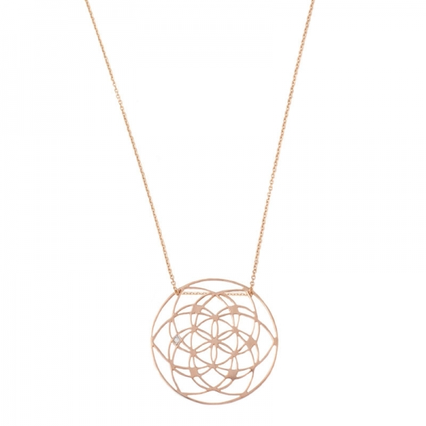 Tiny Om Flower of life necklace