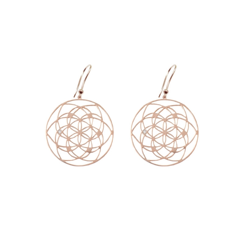 Tiny Om Flower of life earrings