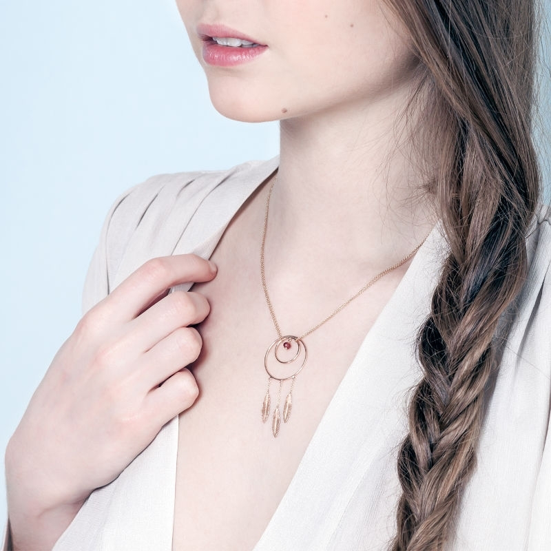 Tiny Om Sacred dream catcher necklace