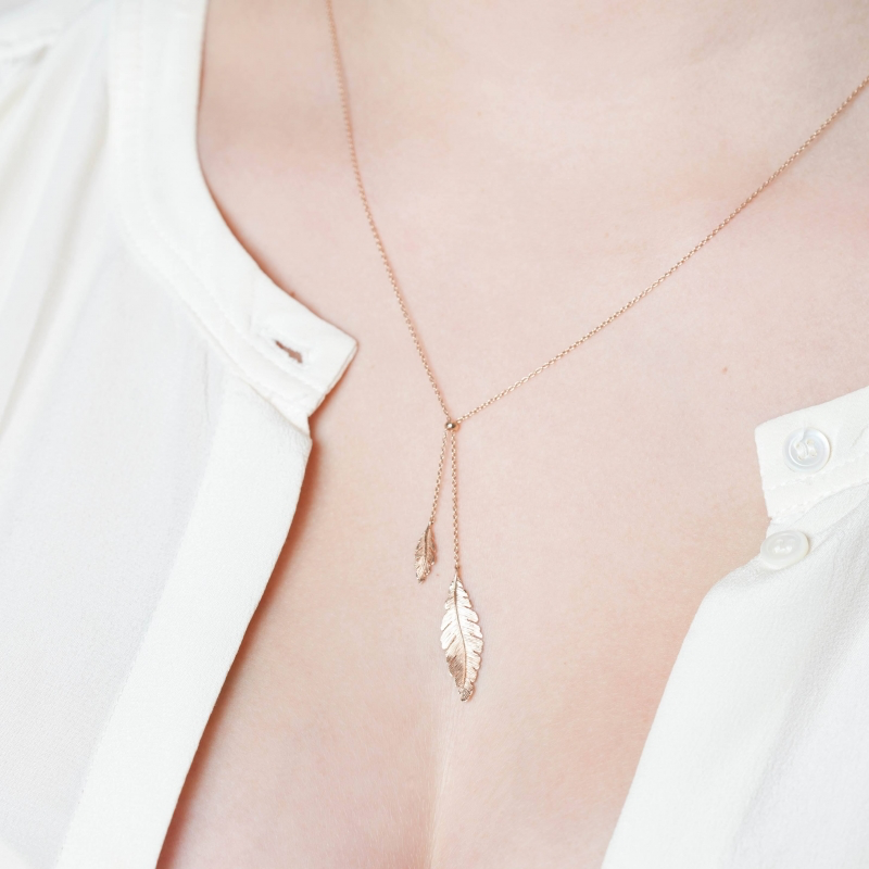 Tiny Om Feathers Necklace
