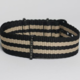 Momentum Nato Strap Black/Beige Double Striped