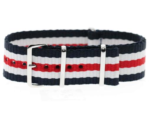 Momentum Nato Strap Blue, White & Red Striped