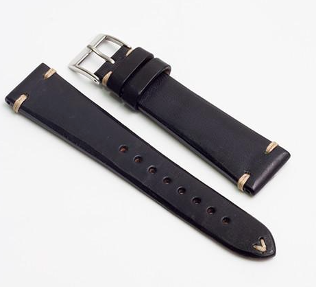 Momentum Vintage Strap Black Smooth Leather-20mm