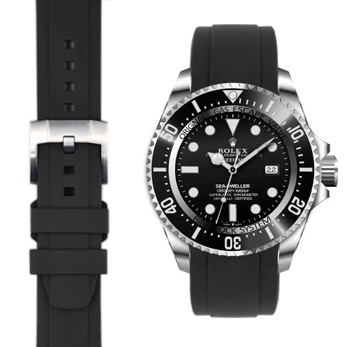 Everest EVEREST CURVED END RUBBER WITH TANG BUCKLE (BLACK)-ROLEX DEEP SEA