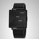 Qlocktwo W35 BLACK STEEL, Milanaise bracelet