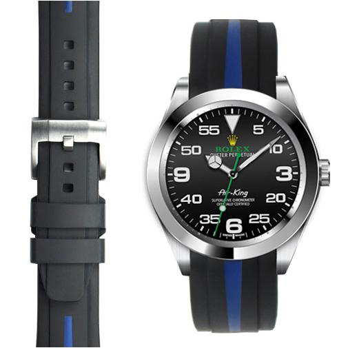 Everest VEREST CURVED END RUBBER -BLACK WITH BLUE STRIPE