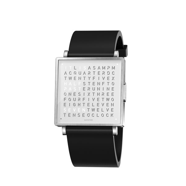 Qlocktwo QW35 Stainless Steel, Rubber Strap