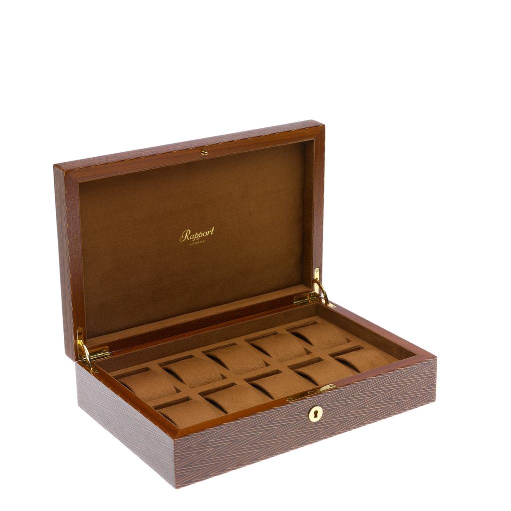 RAPPORT Heritage Herringbone WatchBox for 10 watches