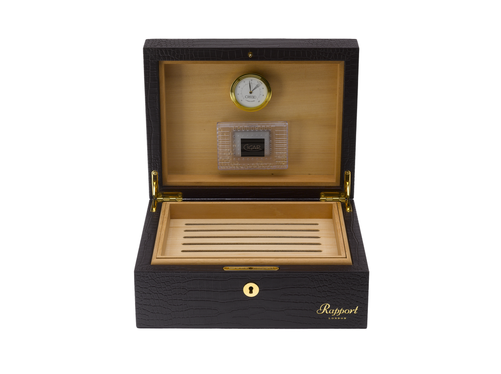 RAPPORT HUMIDOR LEATHER for 50 Cigars- BROWN