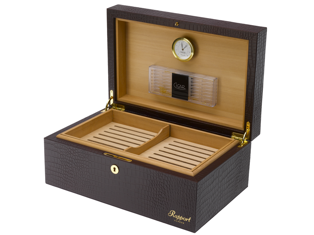 RAPPORT HUMIDOR LEATHER  for 150 Cigars - BROWN
