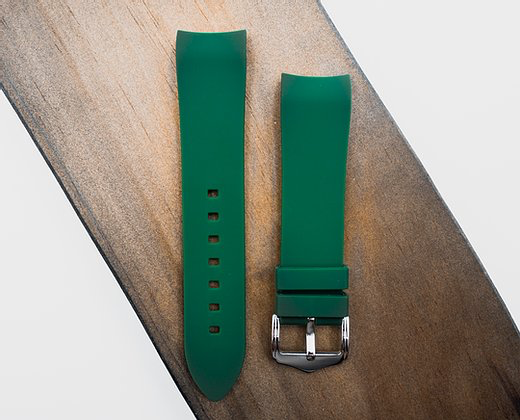 Strapatelier Curved Lug 22mm Silicone strap- Green