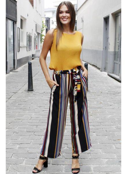 GL  Silke Trousers Stripes Purple/Oker/Kakhi