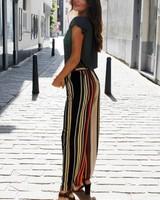 NI Silke Wide Trousers Black/Rusty/Green