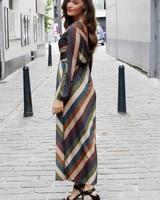 Nathalie LonG Dress Lurex Brown/Green/Purple