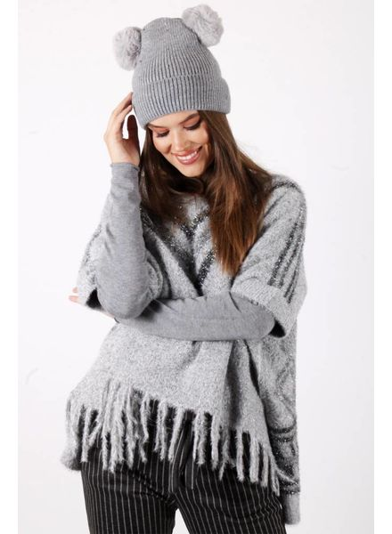 DM Double Pompon Hat Grey