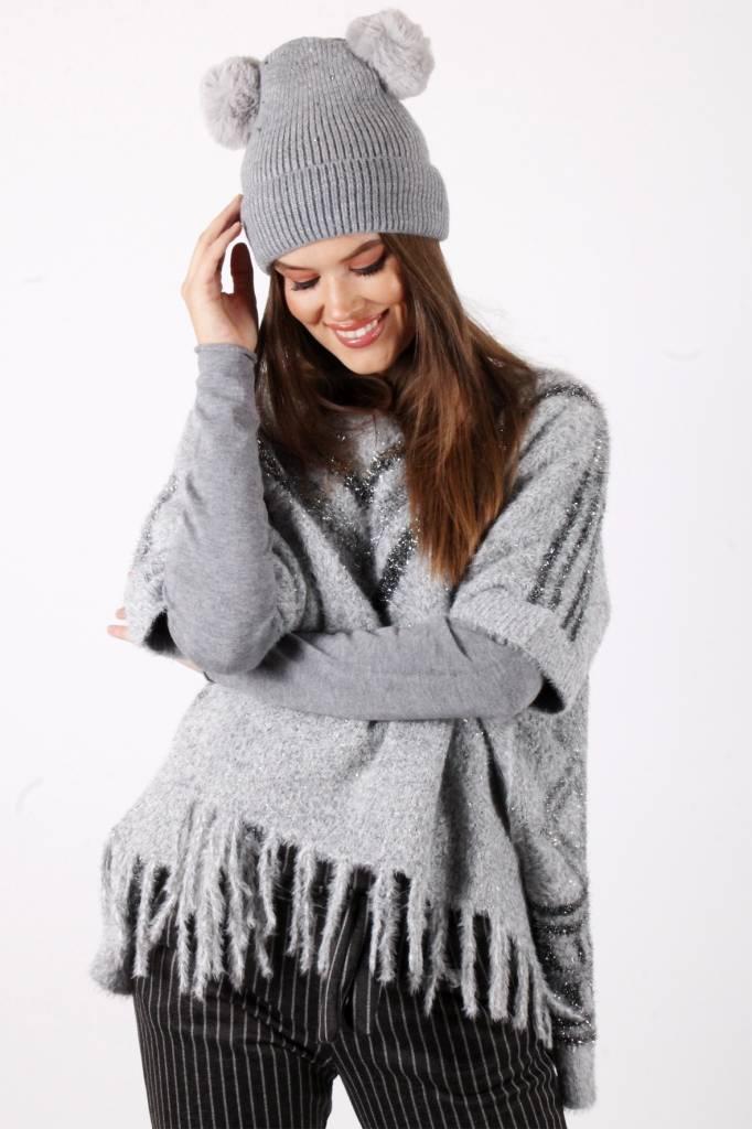 DM Double Pompon Hat Grey