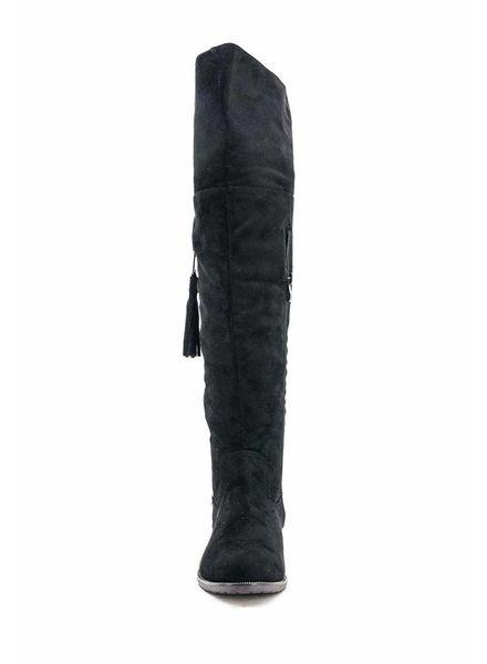 VV Nat Overknee Boots Black/Fringe