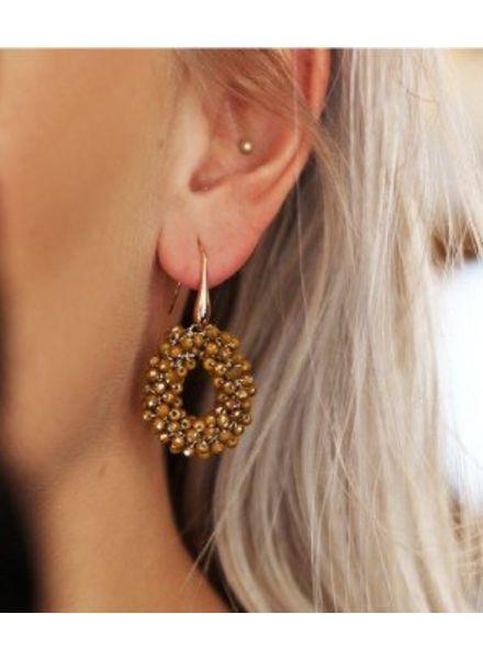 MJ Crystal Beads Hoops Yellow