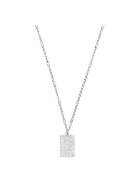 MJ Leopard Print Necklace Zilver