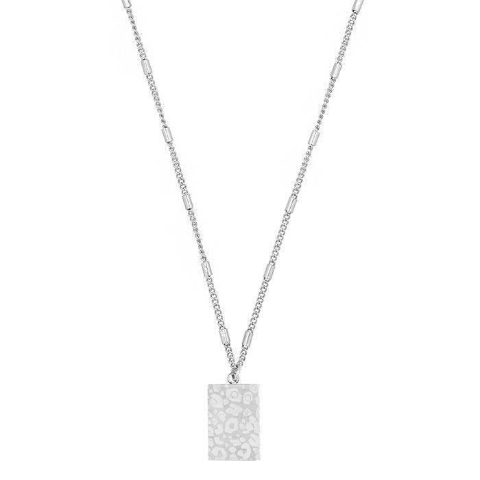 MJ Leopard Print Necklace Zilver