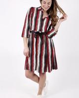 GL Maneau Dress Stripes Red/Black/Ecru