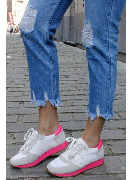 PB Fien Sneaker White Fluo Pink