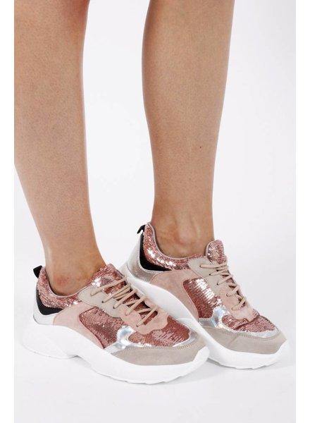 MD Helen Sneaker Pink/Nude Sequins