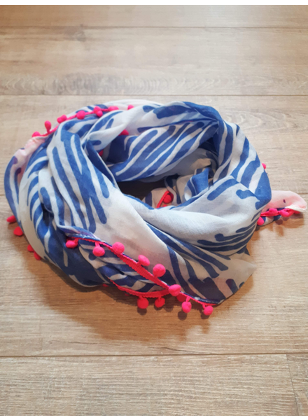 BB Scarf Blue & Fluo Pink Pompons
