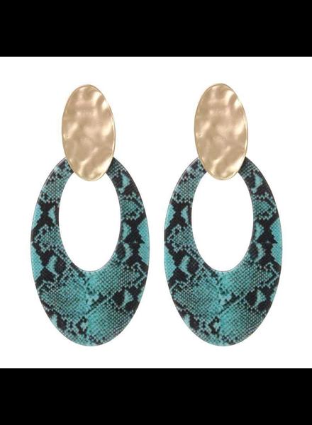 BB earrings Snake Aqua Green/Black